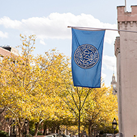 Photo of risd flag on Benefit Street