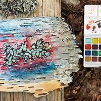 Painting on bark.