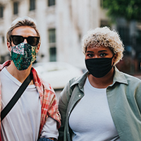 Photo of students with masks.