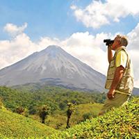 Photo of man with binoculars in Costa Rica.