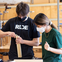 Students in the studio with masks