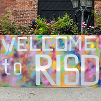 Photo of Welcome to RISD banner on campus